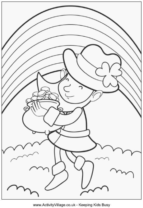 Leprechaun Coloring Pages  Leprechaun with Pot of Gold Colouring Page