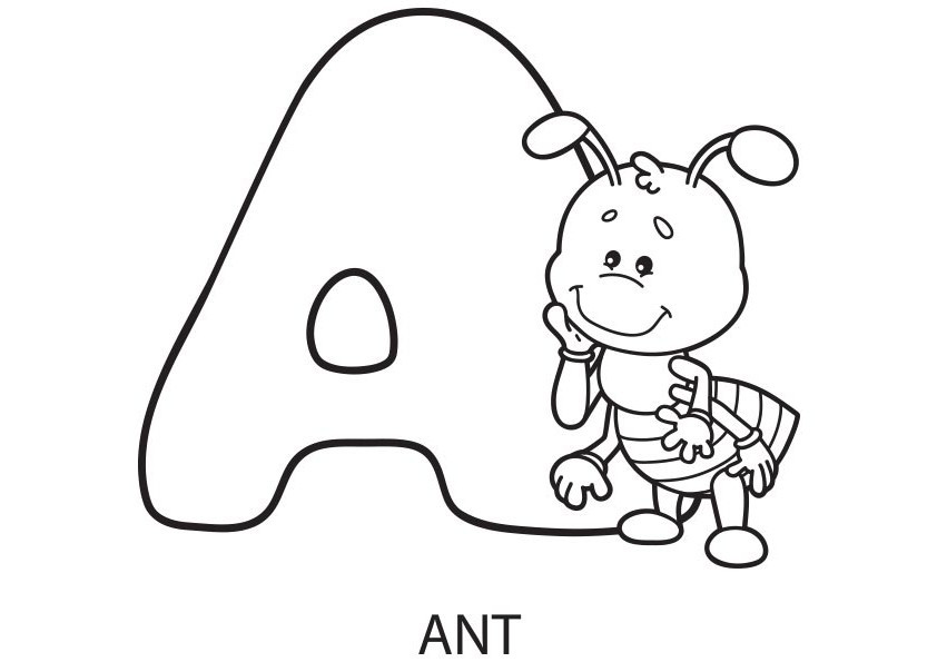 Letter A Coloring Pages For Toddlers  Animal Alphabet Font Coloring pages for kids on Coloring