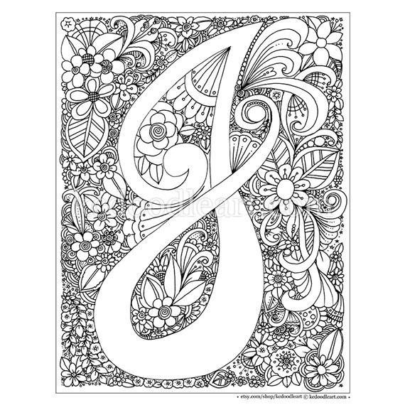 Letter M And V Togueter Coloring Pages For Girls Printable  Instant Digital Download Adult coloring page letter J