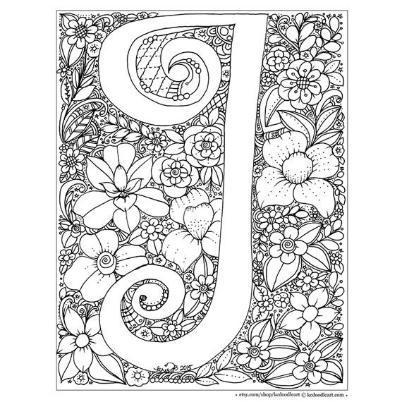 Letter M And V Togueter Coloring Pages For Girls Printable  instant digital adult coloring page letter I