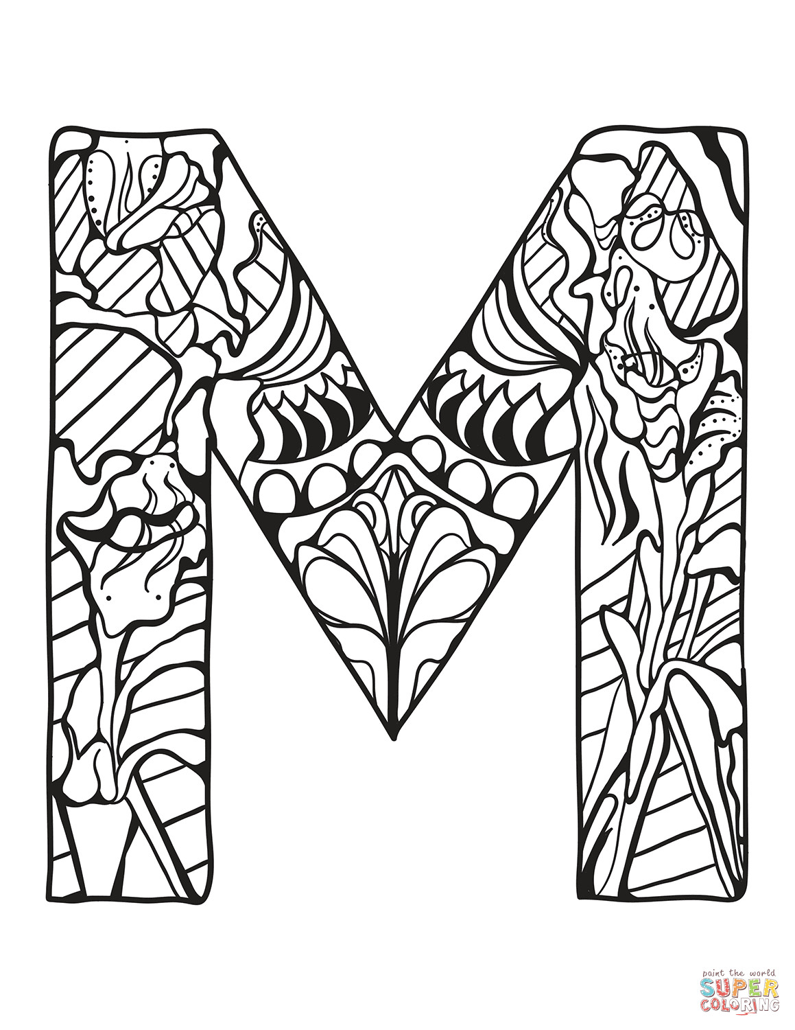 Letter M And V Togueter Coloring Pages For Girls Printable  Letter M Zentangle coloring page