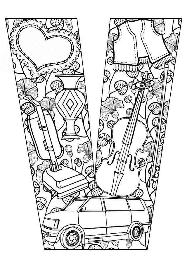Letter M And V Togueter Coloring Pages For Girls Printable  Letter V Coloring Pages