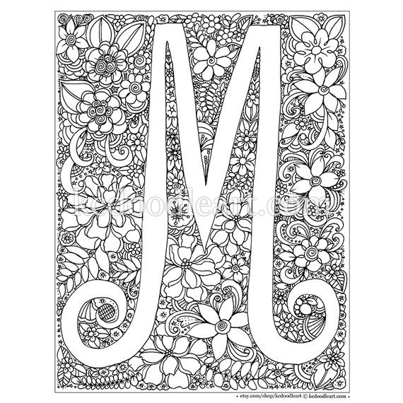 Letter M And V Togueter Coloring Pages For Girls Printable  instant digital adult coloring page letter M
