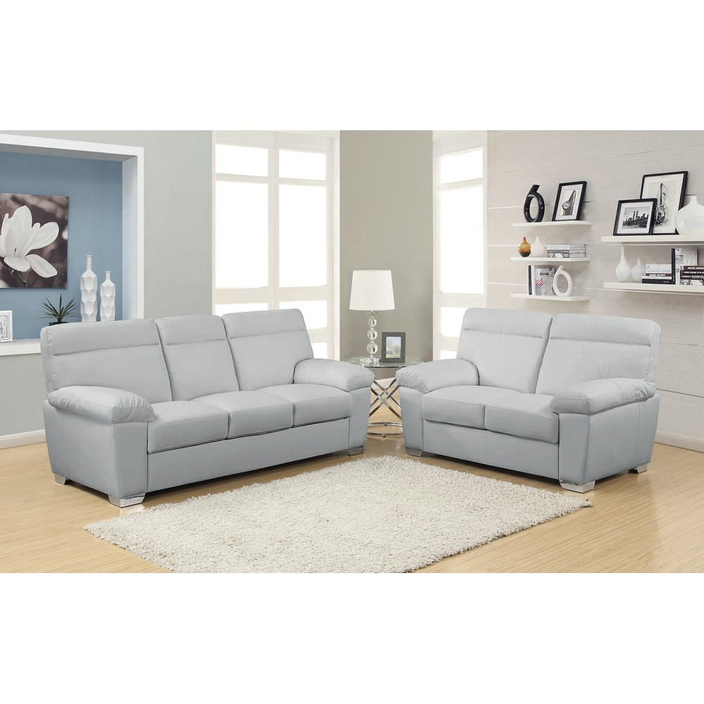 Best ideas about Light Gray Sofa . Save or Pin Light Grey Leather Sofa Euphoria U8141 Gr Light Grey Now.