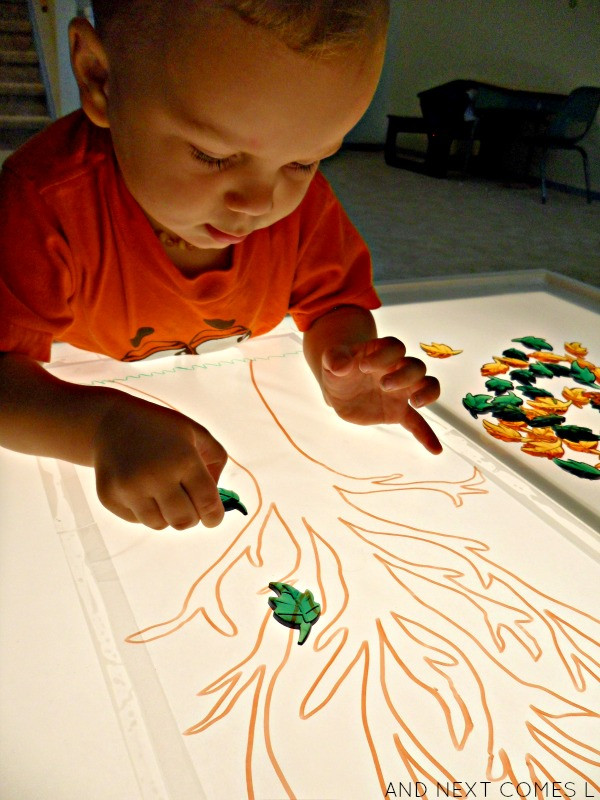 Best ideas about Light Table For Kids . Save or Pin Sticky Fall Tree Light Table Activity Now.
