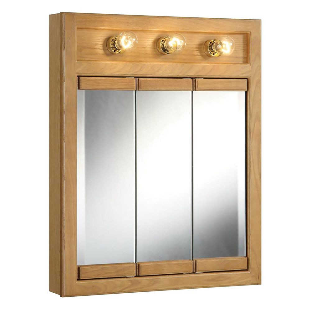 Best ideas about Lighted Medicine Cabinet . Save or Pin Design House Richland Nutmeg Oak Lighted Tri View Wall Now.