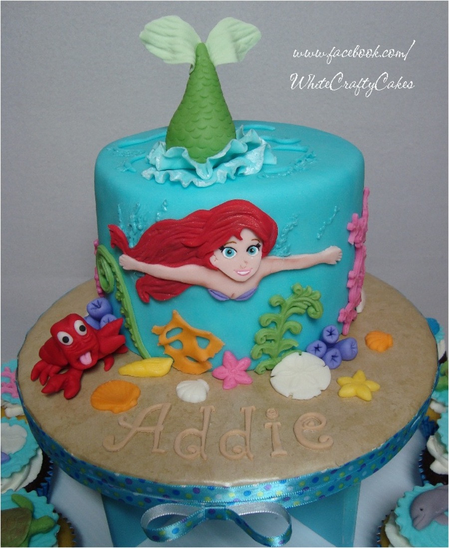 Little Mermaid Birthday Cake  The Little Mermaid Cake And Cupcake Tower CakeCentral