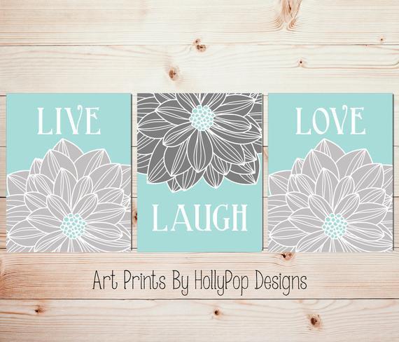 Best ideas about Live Laugh Love Kitchen Decor . Save or Pin Live Laugh Love Aqua gray wall art Home decor art prints Now.