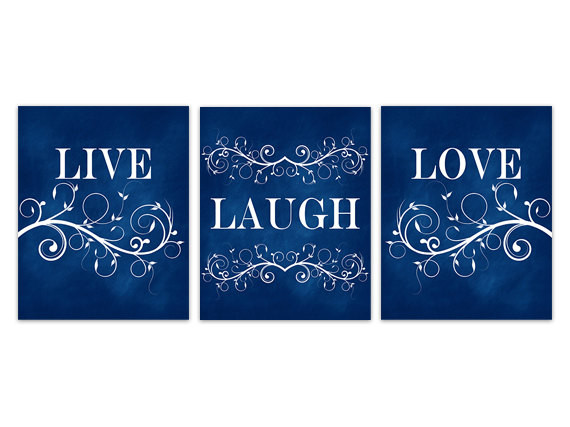 Best ideas about Live Laugh Love Kitchen Decor . Save or Pin Blue Wall Art Navy Home Decor Live Laugh Love CANVAS Now.