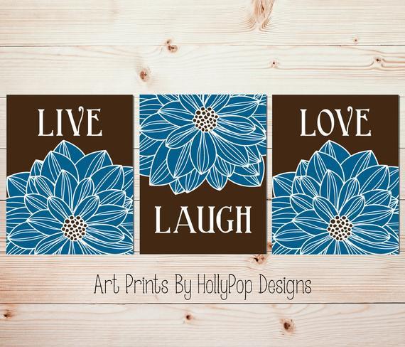 Best ideas about Live Laugh Love Kitchen Decor . Save or Pin Live Laugh Love Kitchen wall prints Blue brown bedroom art Now.
