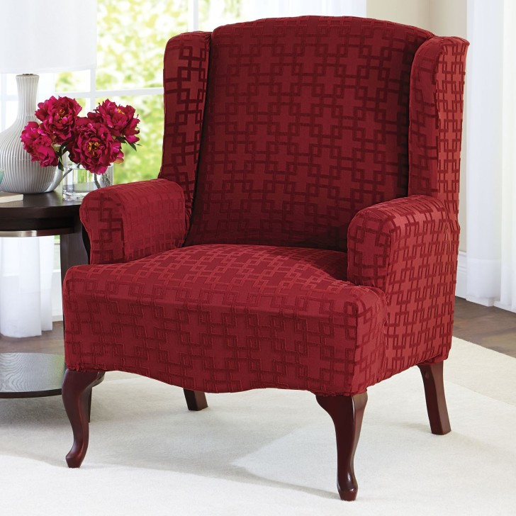 Best ideas about Living Room Chair Covers . Save or Pin Chic Yellow White Chair Cover For Wingback Chair Grey Now.