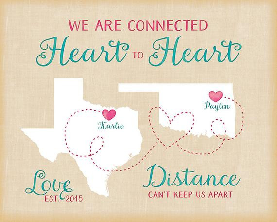 Long Distance Birthday Gift Ideas  Long Distance Relationship Birthday Gift Personalized Maps