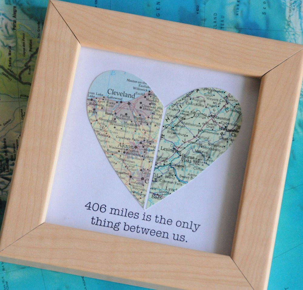 Best ideas about Long Distance Relationship Gift Ideas For Boyfriend . Save or Pin Long Distance Relationship Boyfriend Gift Map Heart Framed Now.