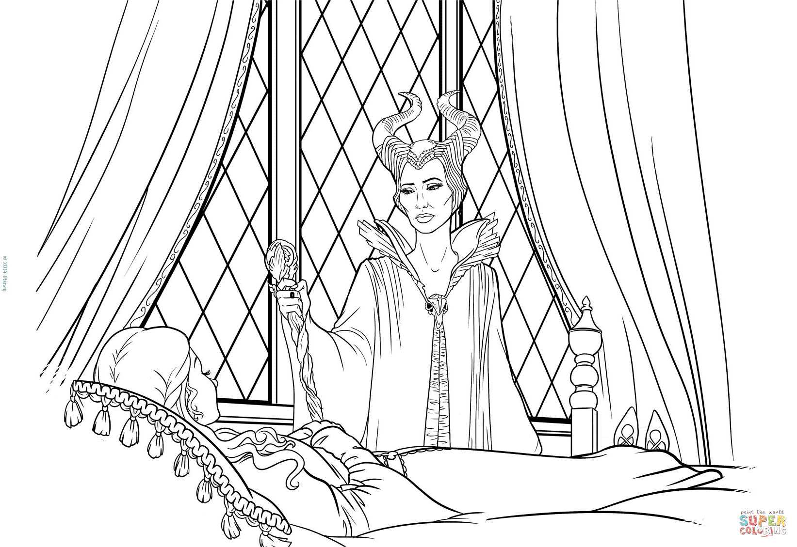 Maleficent Coloring Pages  Maleficent Apologizes to Aurora coloring page