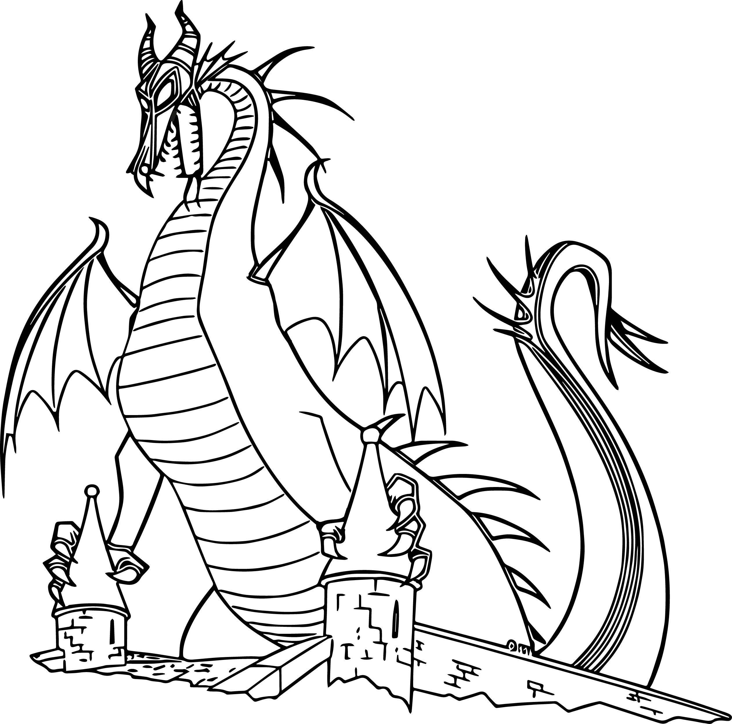 Maleficent Coloring Pages  Maleficent Dragon Castle Cartoon Coloring Page