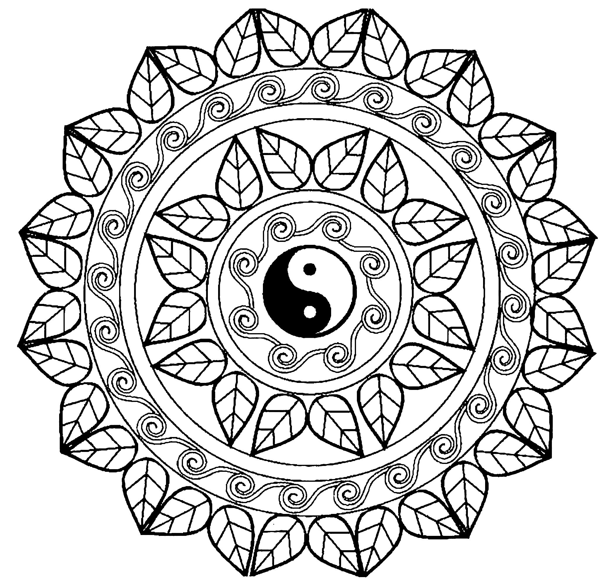 Mandala Art Coloring Pages  Mandala yin yang M&alas Adult Coloring Pages