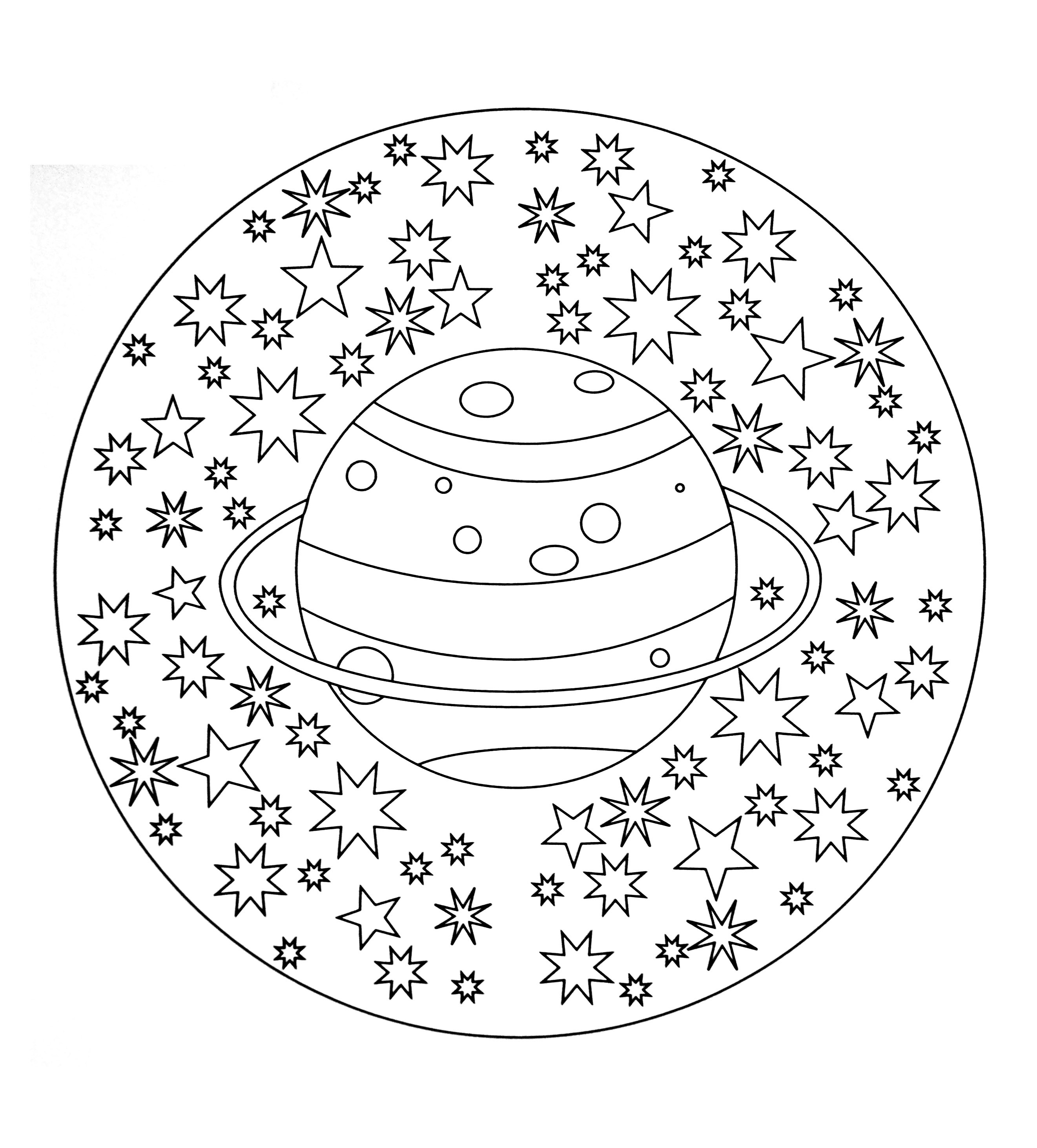 Mandala Coloring Sheets For Kids  Free mandala to color planet stars M&alas Adult