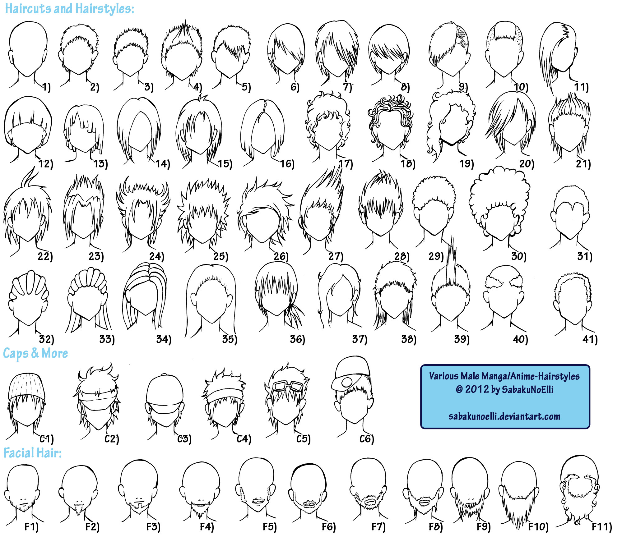 Manga Hairstyles Male  Various Male Anime Manga Hairstyles by Elythe on DeviantArt