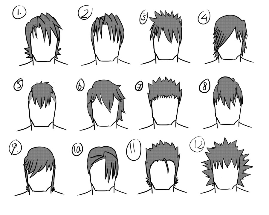 Manga Male Hairstyles  12 male hairstyles by gamertjecool on DeviantArt