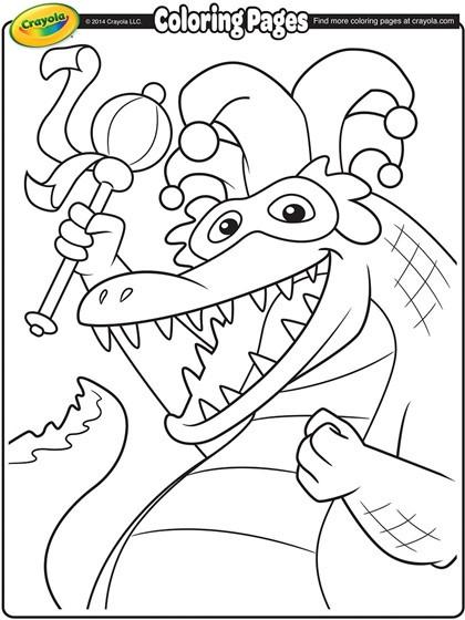 Mardi Gras Coloring Sheets For Kids  Mardi Gras Alligator Coloring Page
