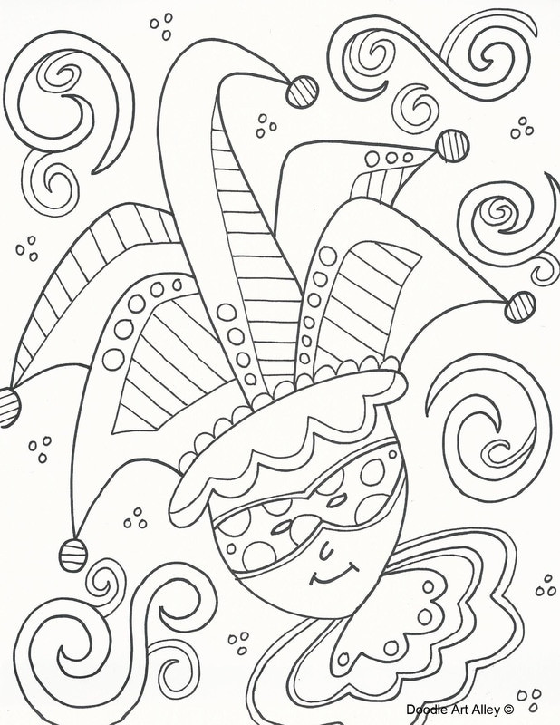 Mardi Gras Coloring Sheets For Kids  Mardi Gras Coloring Pages Doodle Art Alley