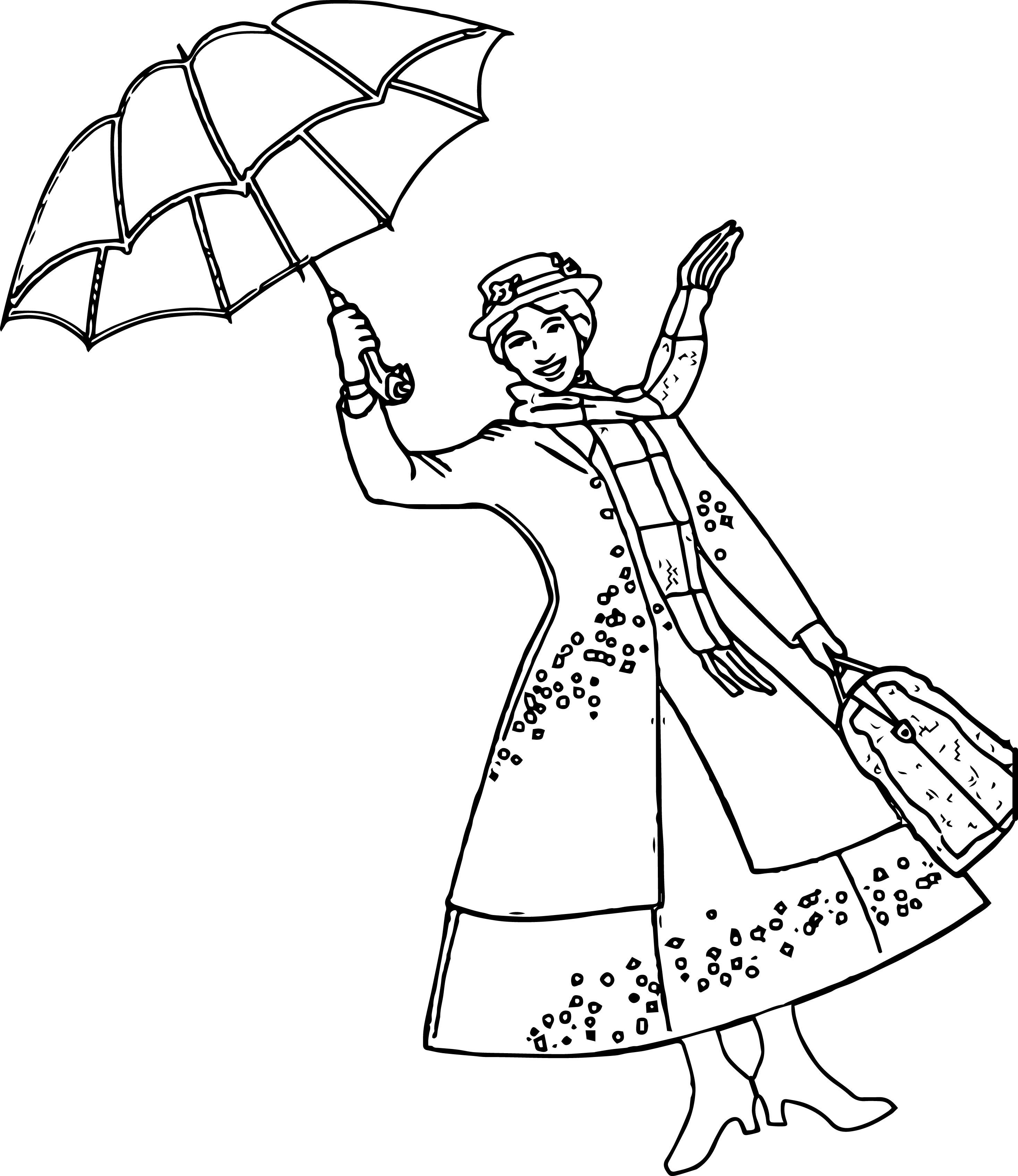 Mary Poppins Coloring Pages  Mary Poppins Girl Umbrella Coloring Page