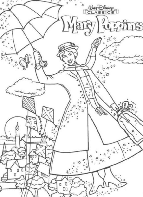 Mary Poppins Coloring Pages  Kids n fun