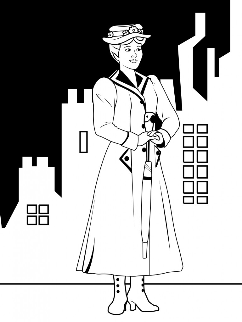 Mary Poppins Coloring Pages  Mary Poppins Coloring Page Coloring Home