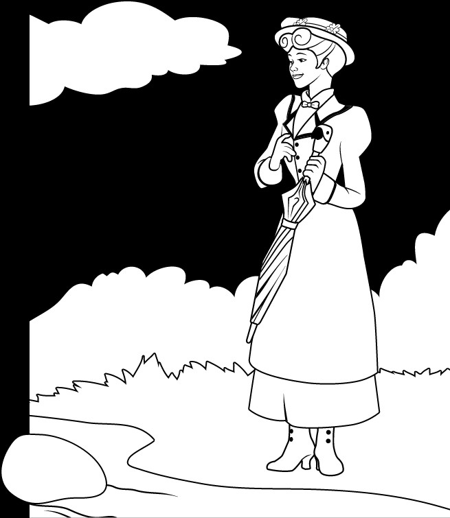 Mary Poppins Coloring Pages  Mary Poppins Coloring Pages Coloring Home