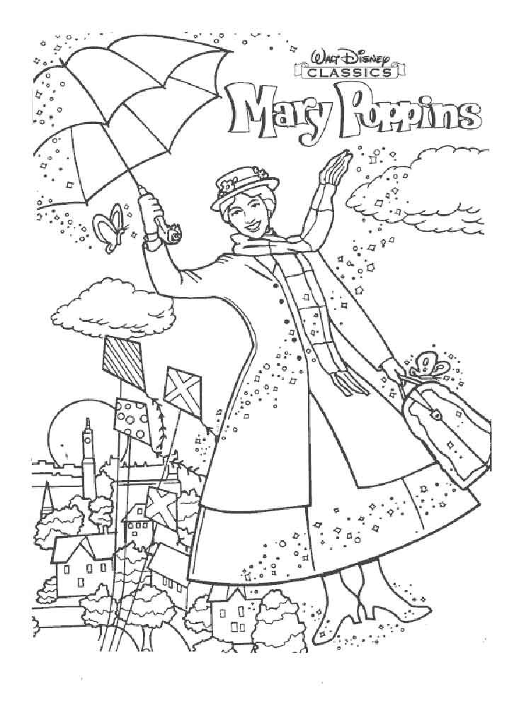 Mary Poppins Coloring Pages  Mary Poppins coloring pages Free Printable Mary Poppins