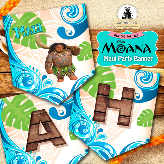 Maui Birthday Party  Maui Moana Banner Maui Party Banner Maui Moana Printable