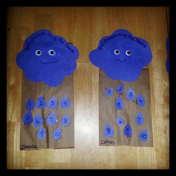 May Crafts For Preschoolers  Mr Cloud Puppets April showers bring May Flowers
