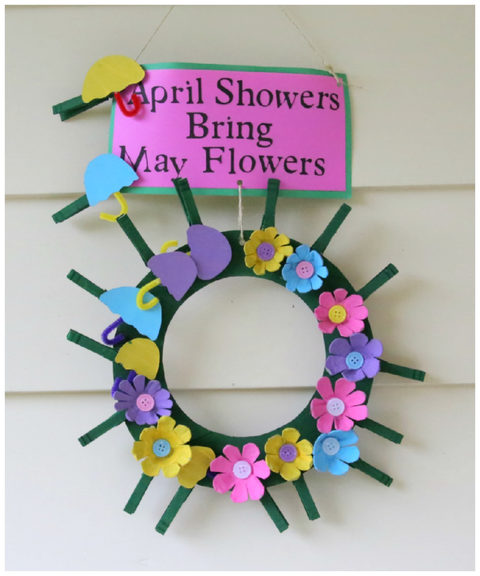 May Crafts For Preschoolers  Recycled Craft April Showers Bring May Flowers Clothespin