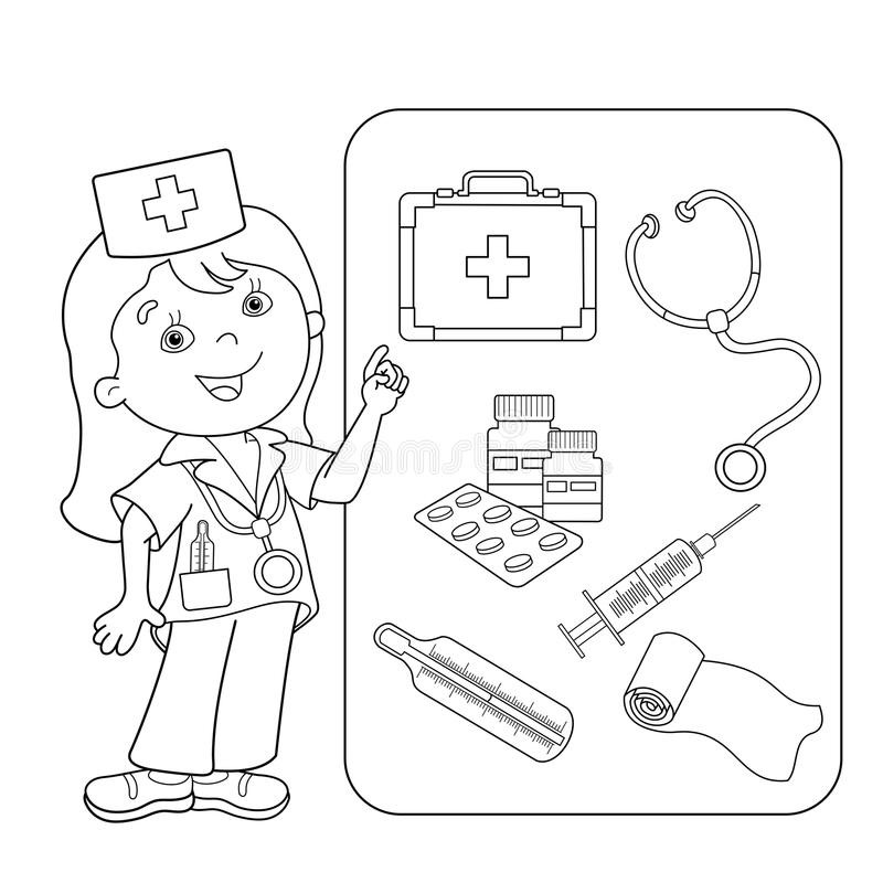 Medical Coloring Sheets For Kids  Coloring Page Outline Cartoon Doctor With First Aid Kit