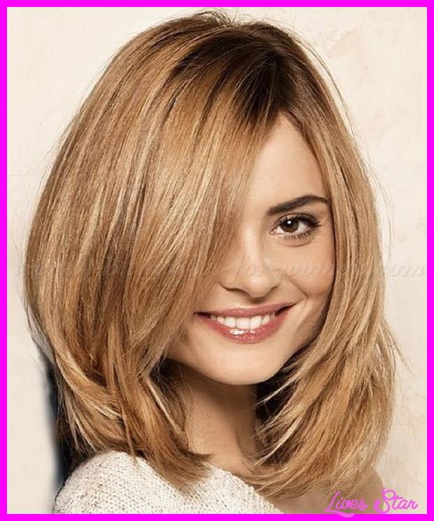 Medium Length Layered Hairstyles  Medium length layered haircut round face LivesStar
