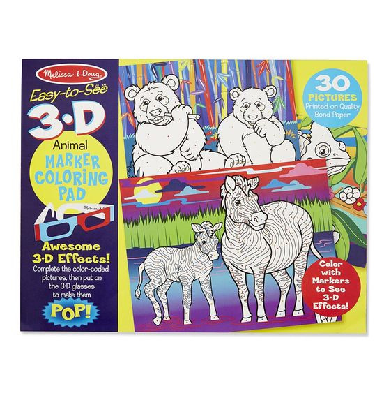 Melissa And Doug Coloring Books  3D Coloring Book Animals