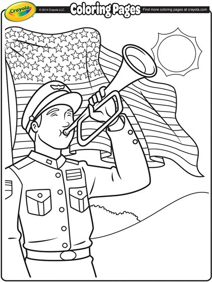 Memorial Day Coloring Pages For Adults  Memorial Day Bugler Coloring Page