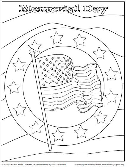 Memorial Day Coloring Pages Printable  memorial day coloring page honor Pinterest