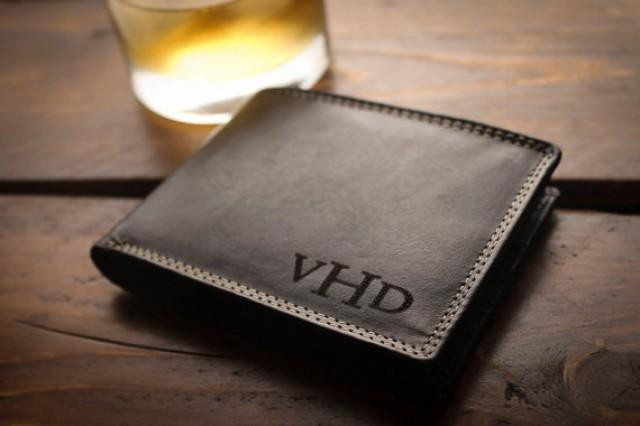 Mens Anniversary Gift Ideas  Personalized Mens Wallet For Men Fathers Gift For Dad