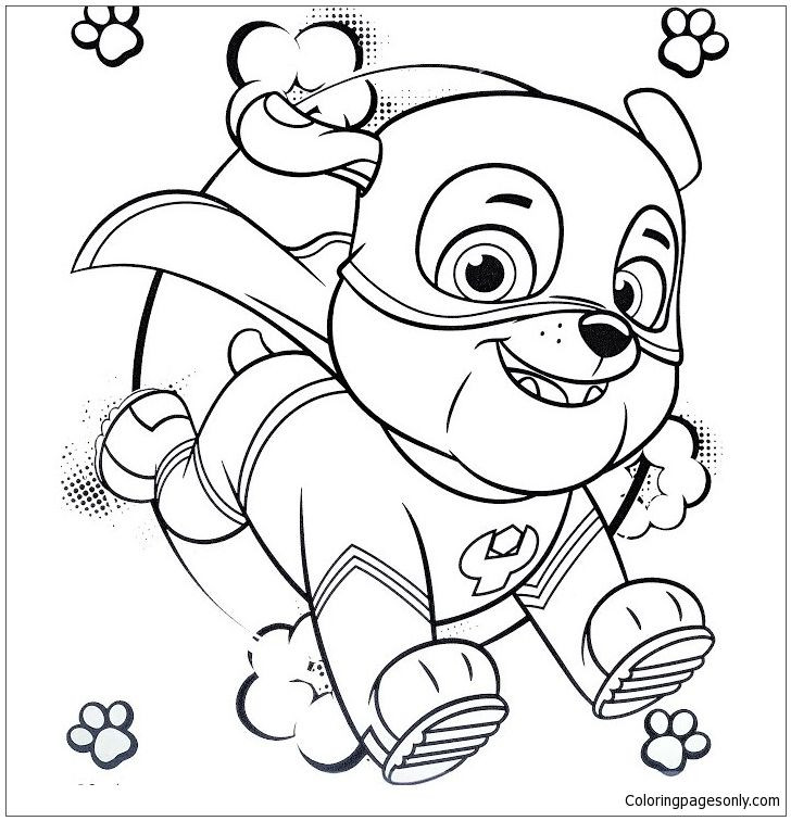 Mighty Pups Coloring Pages  Super Hero Rubble Paw Patrol Coloring Page