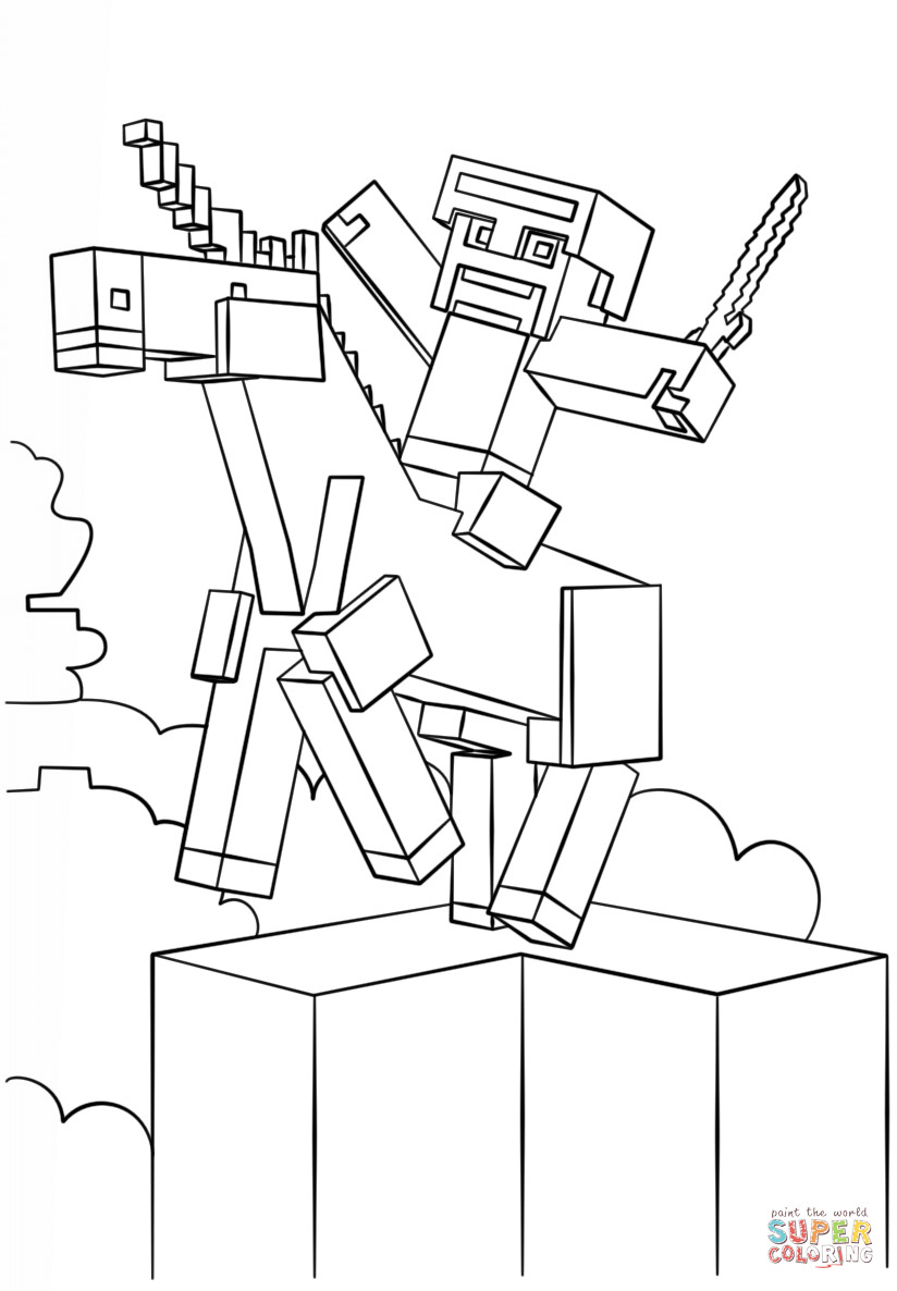 Minecraft Coloring Sheet  Minecraft Unicorn coloring page