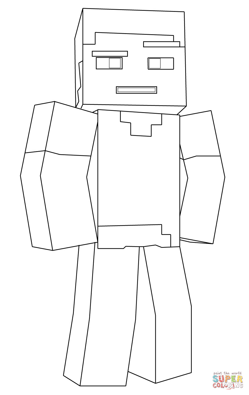 Minecraft Steve Coloring Pages  Minecraft Steve coloring page