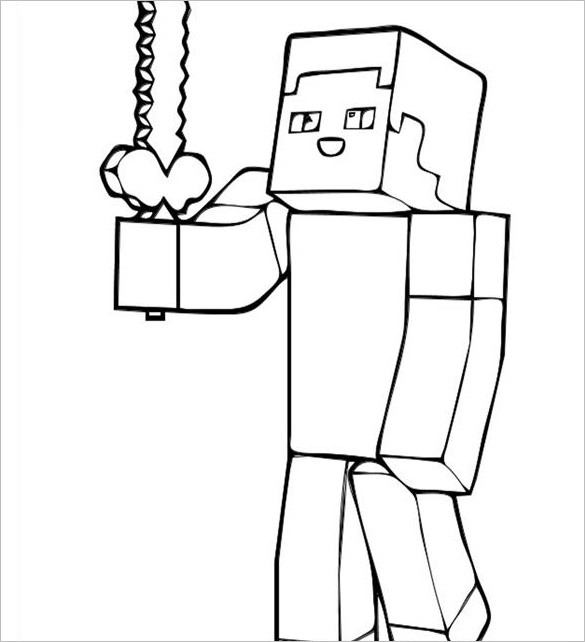 Minecraft Steve Coloring Pages  18 Minecraft Coloring Pages PDF PSD PNG