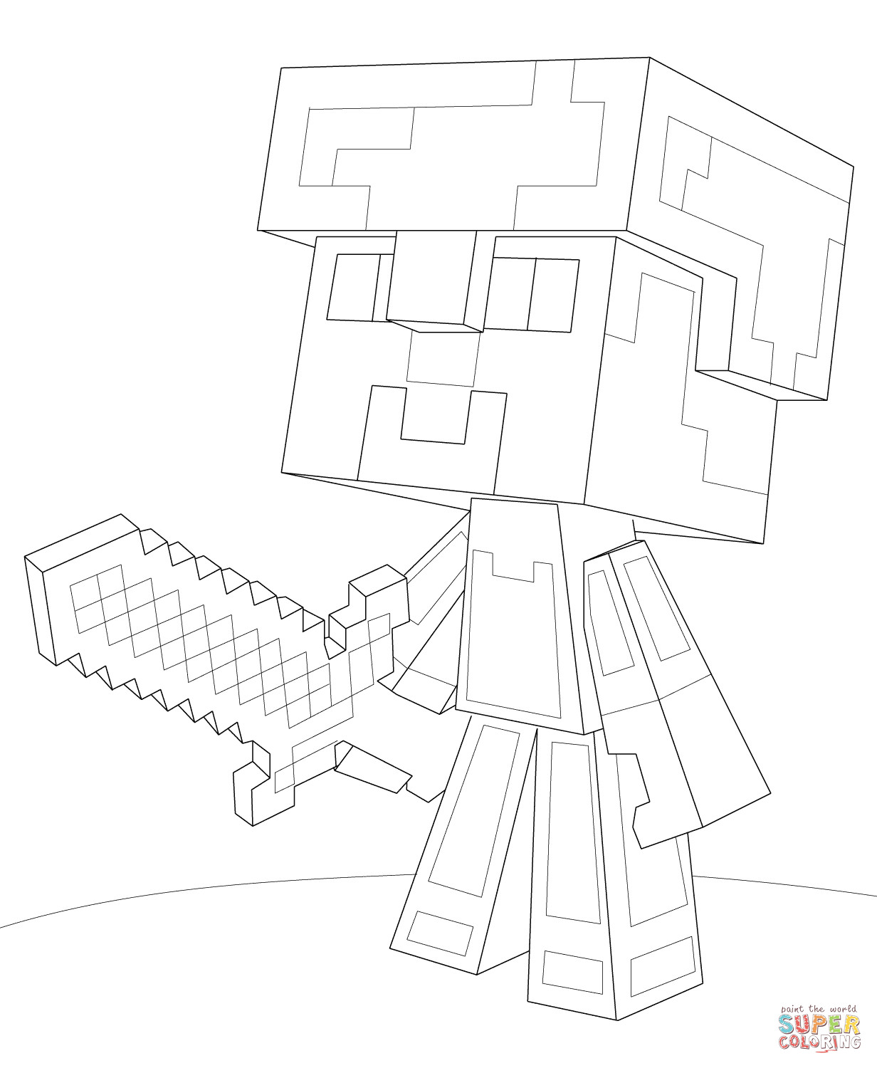 Minecraft Steve Coloring Pages  Minecraft Steve Diamond Armor coloring page