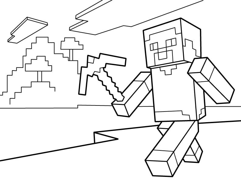 Minecraft Steve Coloring Pages  40 Printable Minecraft Coloring Pages