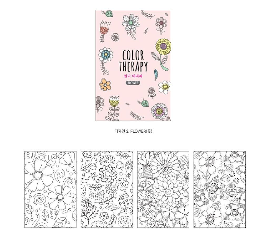 Mini Adult Coloring Book  Color Therapy Flower Mini Coloring Book For Adult Gift Fun