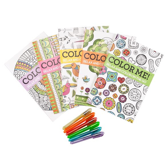 Mini Adult Coloring Book  Adult Mini Coloring Books Set of 5 with Gel Pens Miles