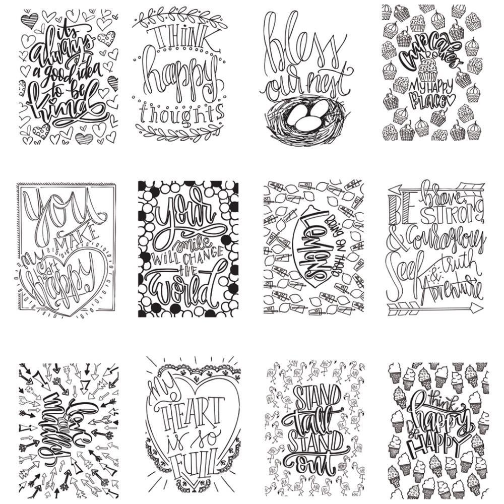 "Mini Adult Coloring Book  ArtPlay Watercolor Paper Mini Coloring Book 4""X6"" Happy"