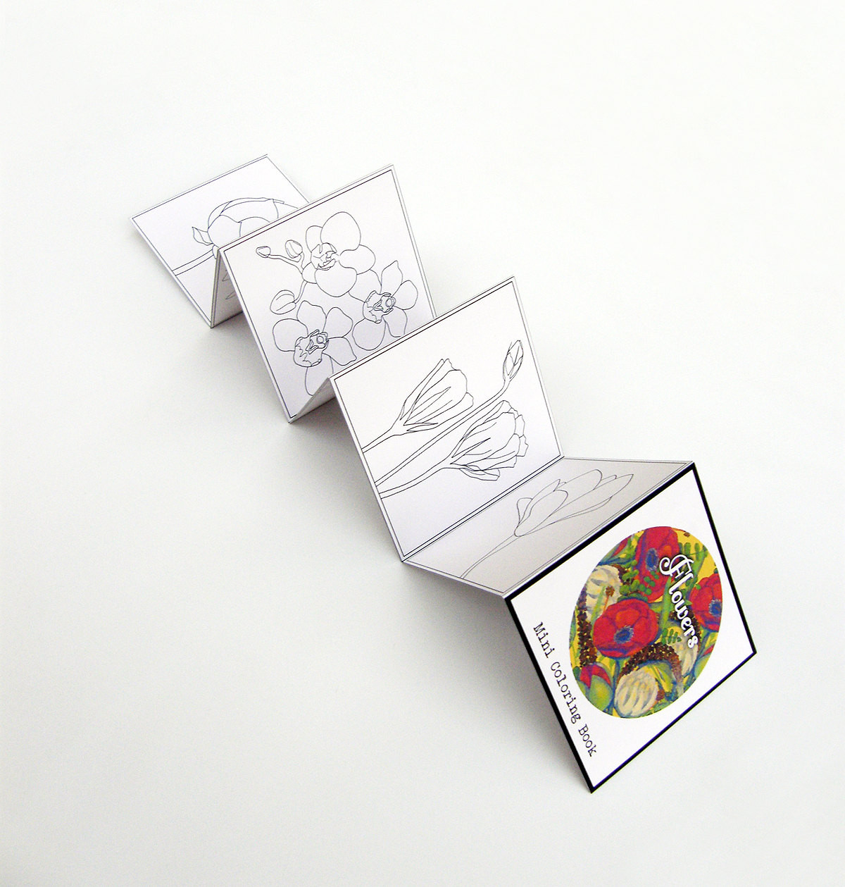 Mini Adult Coloring Book  Mini Adult Coloring Book Flowers Pocket size travel by