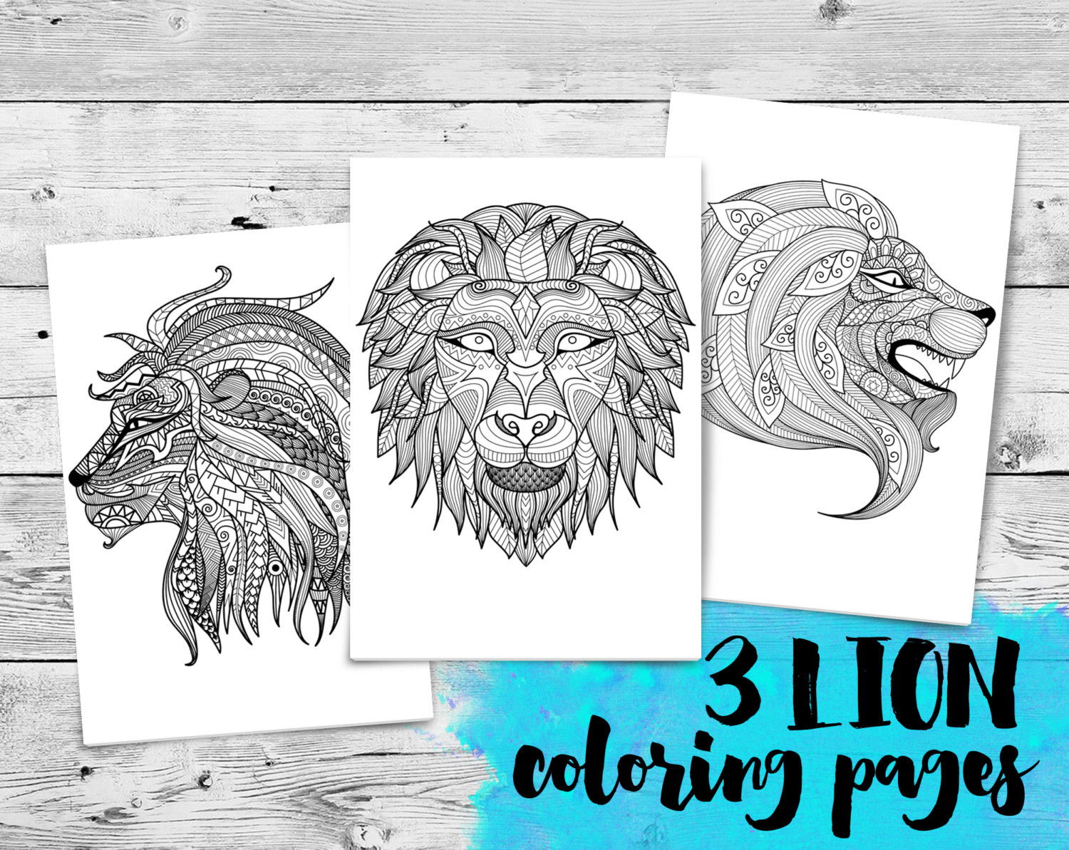 Mini Adult Coloring Book  Lions Mini Adult Coloring Book 3 Printable Coloring Pages